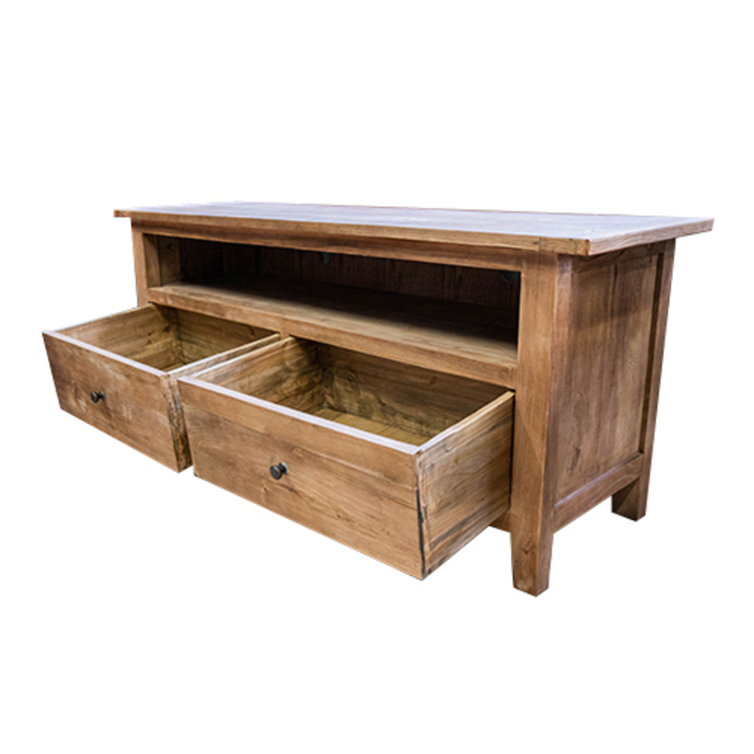 Reclaimed Elm TV Unit With 2 Drawer image 4