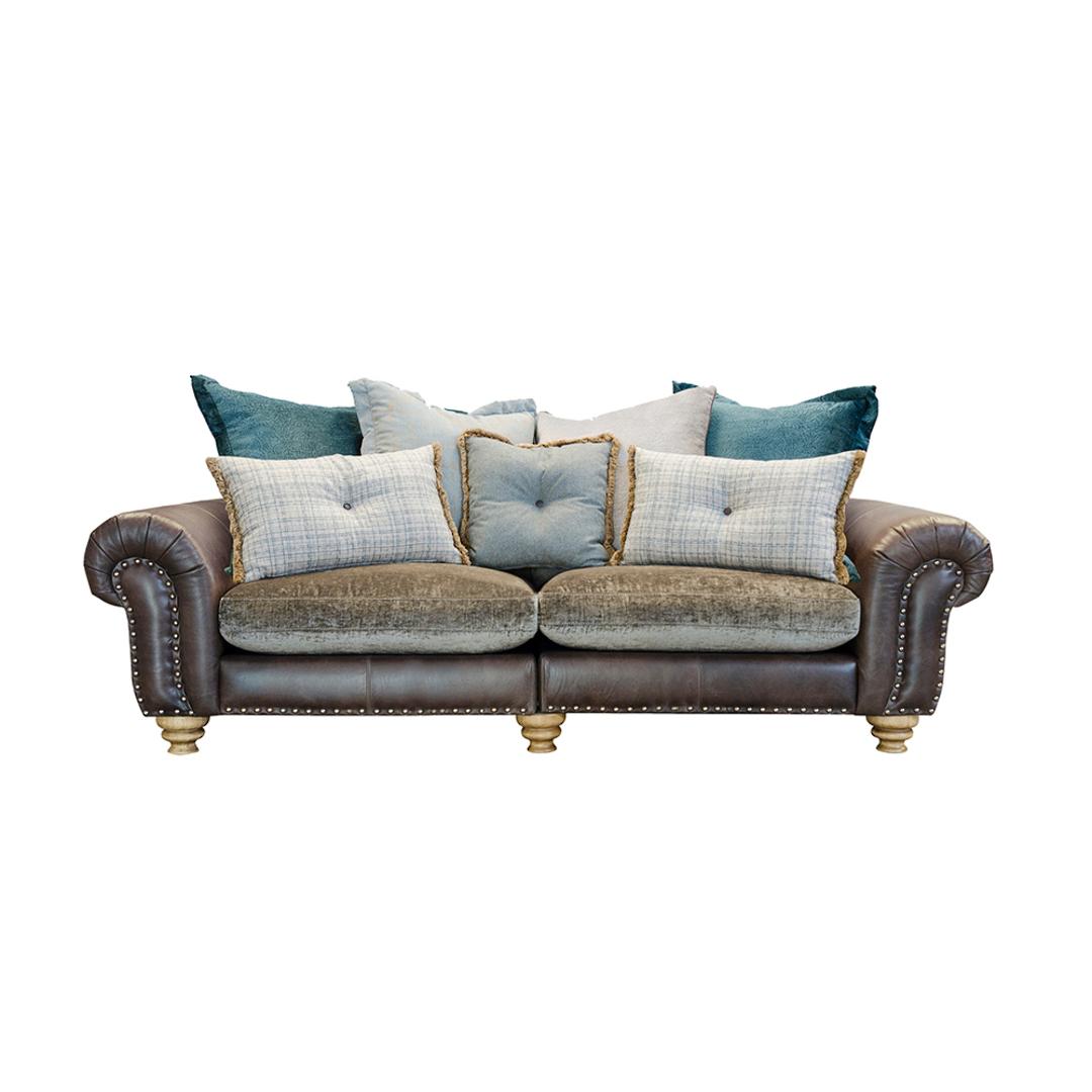 Bloomsbury Large Split Sofa Cal Smoke Leather & Velvet image 0