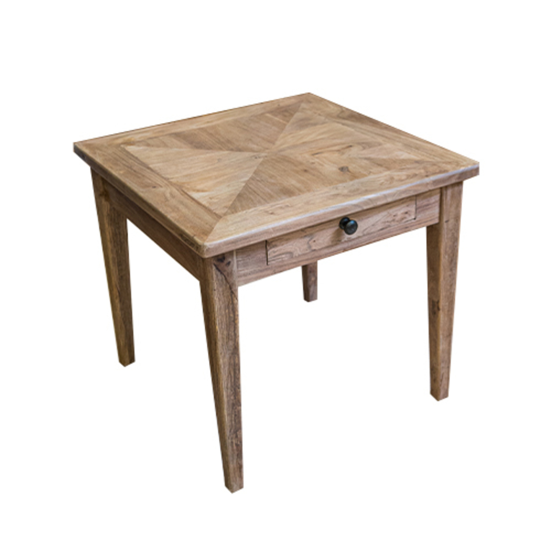 Recycled Elm 1 Drawer Side Table image 1