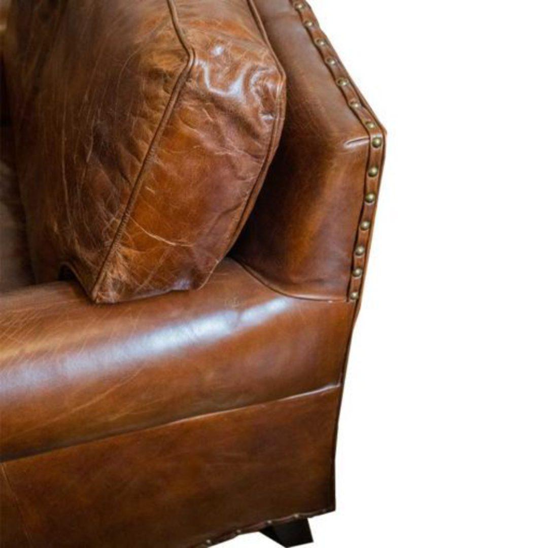 Churchill Aged Italian Leather Chair image 3
