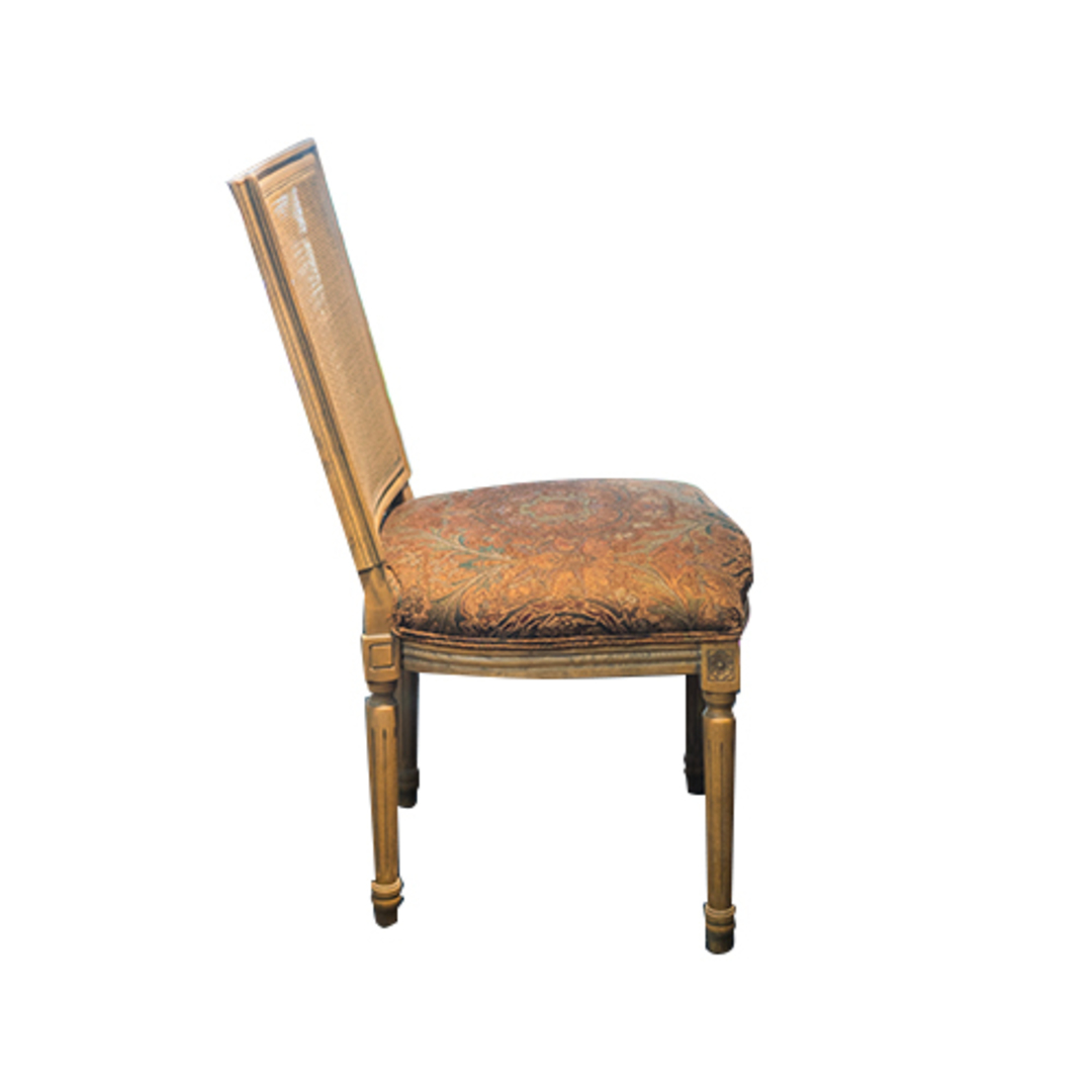 Marcel Dining Chair - Antique Oak With Jacquard Fabric & Rattan Back image 1