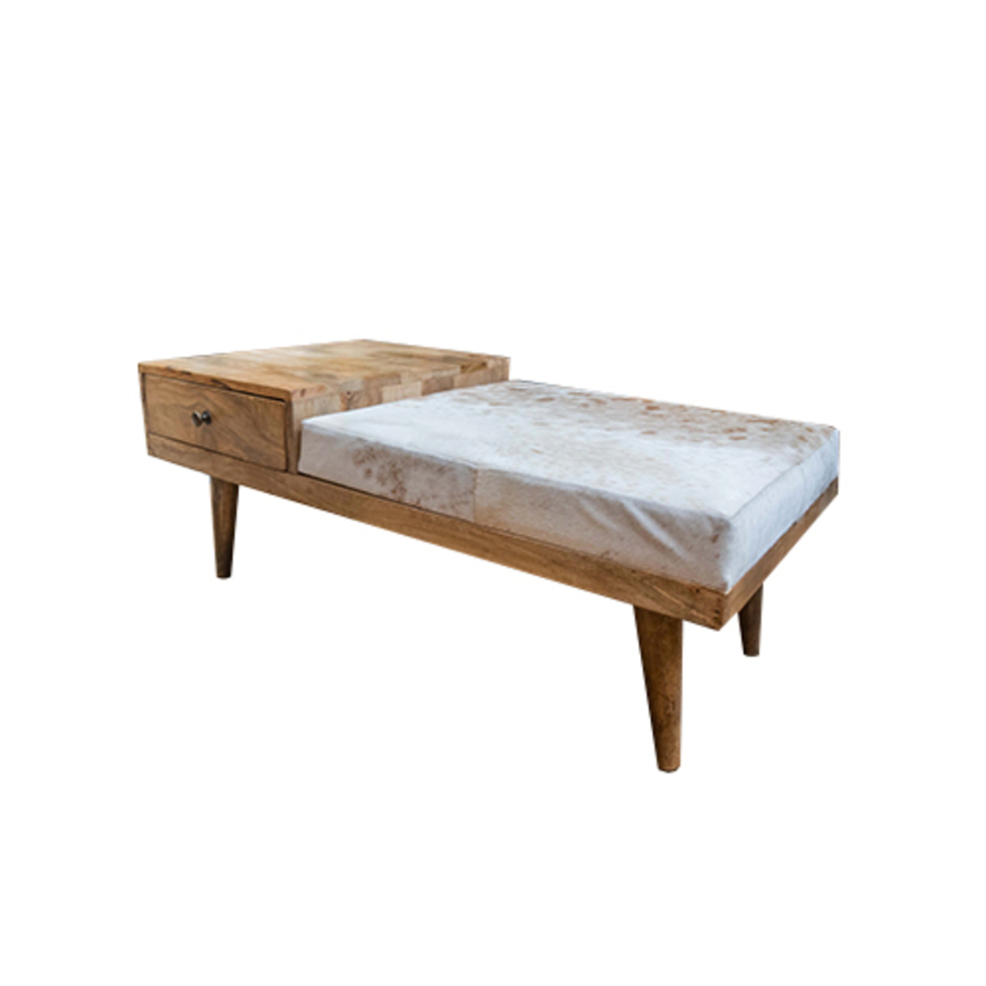 Mid Century Phone Bench With Cowhide image 1