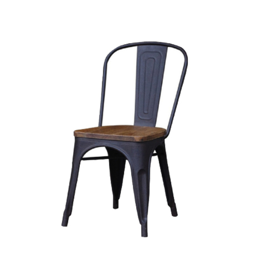 Industrial Dining Chair With Elm Seat image 0