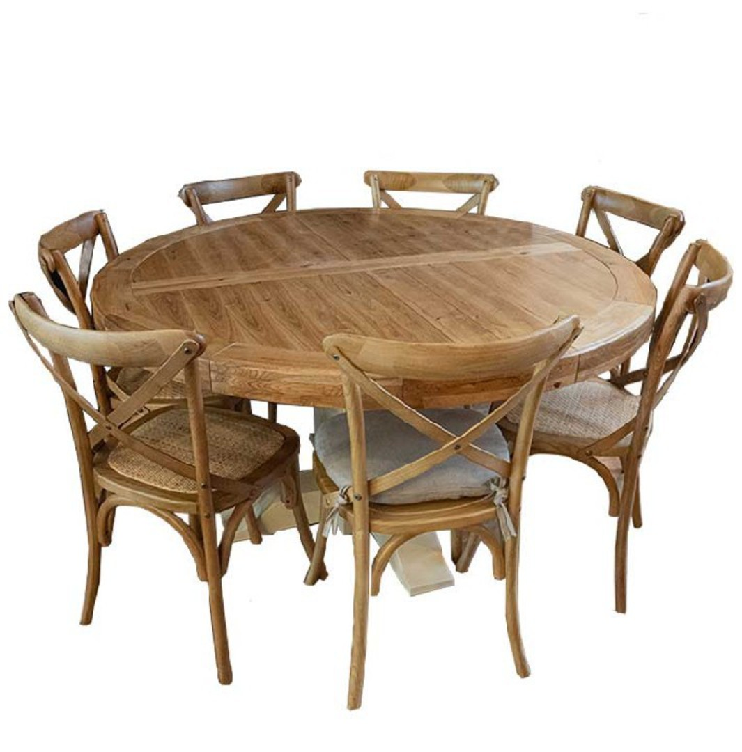Oak Round Table Natural Top White Base 1.5M image 2