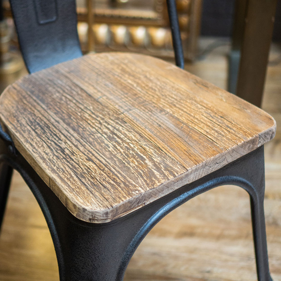 Industrial Dining Chair With Elm Seat image 3