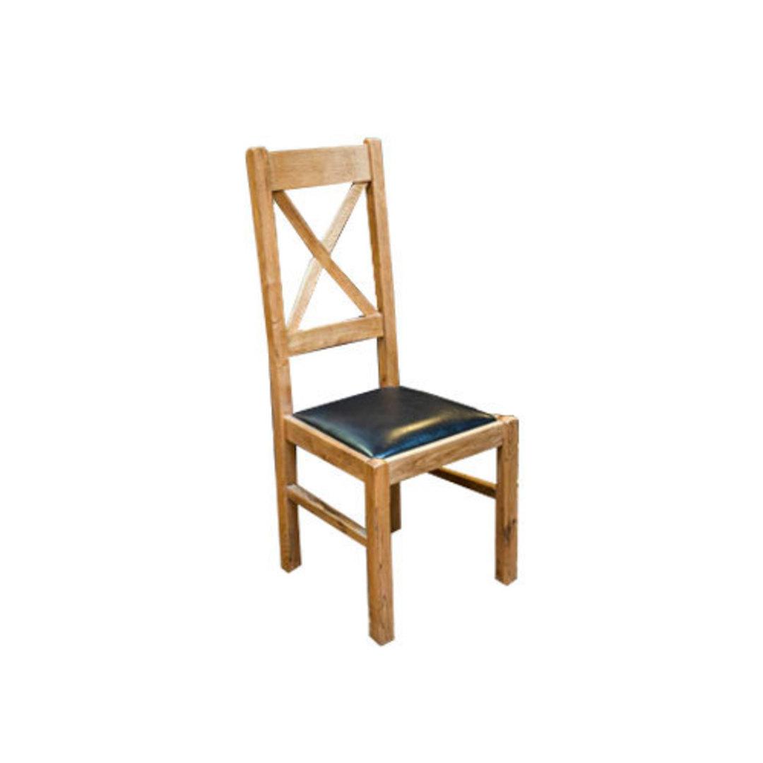 Chateau Oak Cross Back Leather Chairs - Dark Seat image 2