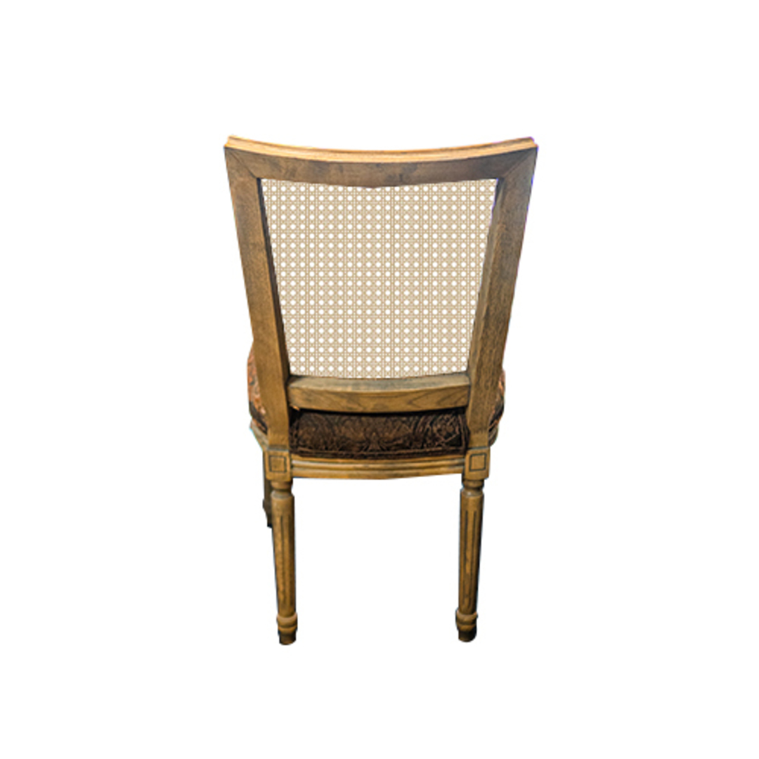 Marcel Dining Chair - Antique Oak With Jacquard Fabric & Rattan Back image 2