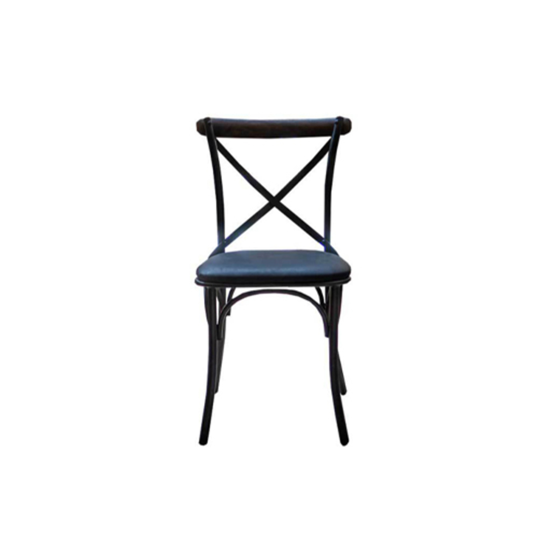 Cross Back Dining Chair With Black Leather Seat image 0