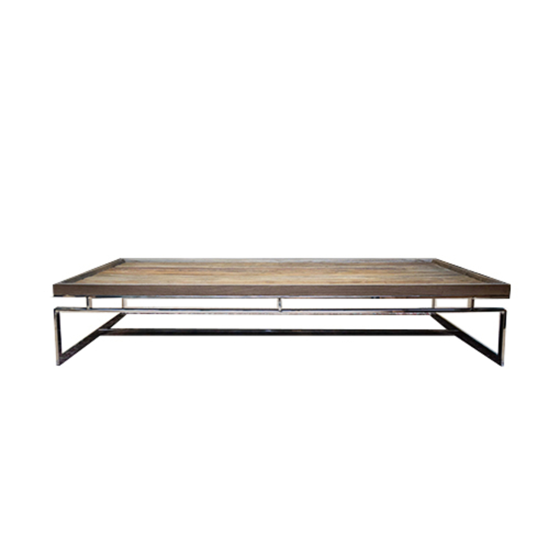 Providence Coffee Table Reclaimed Elm & Stainless Steel image 1