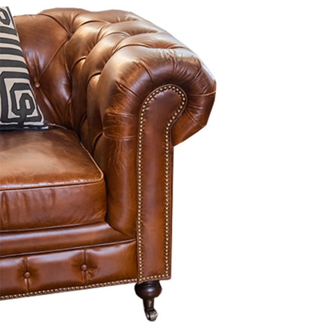 Chesterfield Aged Italian Leather 2 Seater Brown image 4