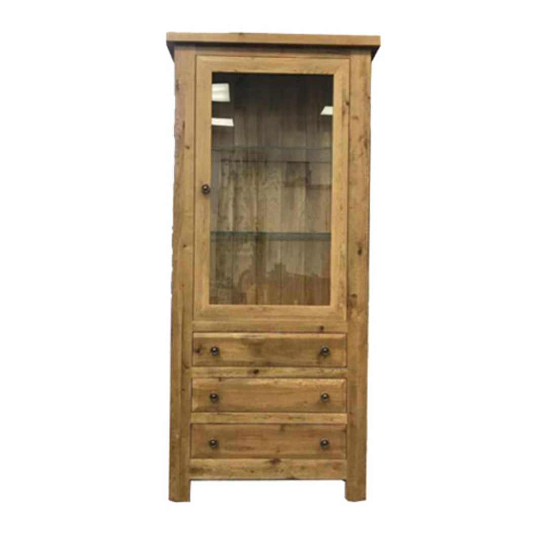 Oak Display Cabinet With Glass Door and Drawers image 0