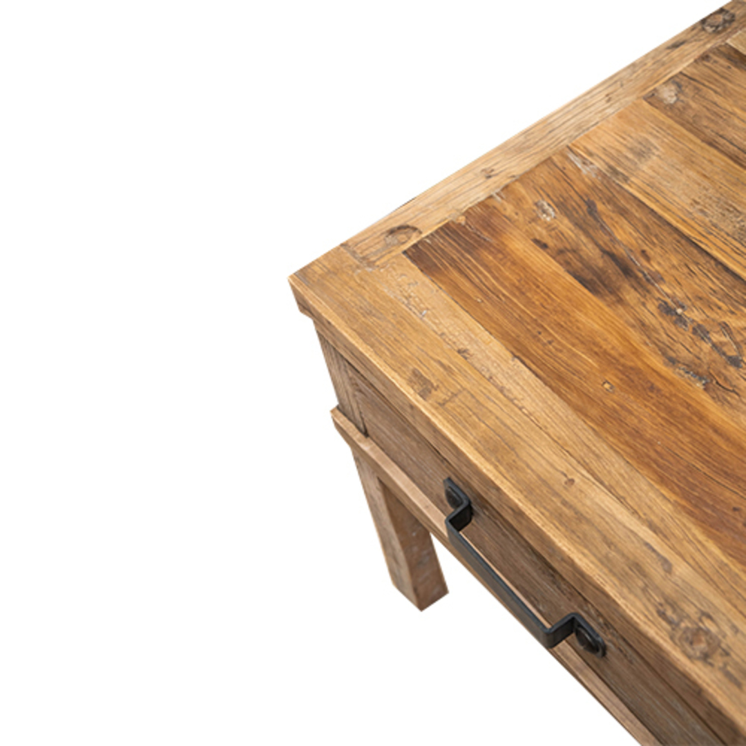 Recycled Elm Side Table 1 Drawer image 4