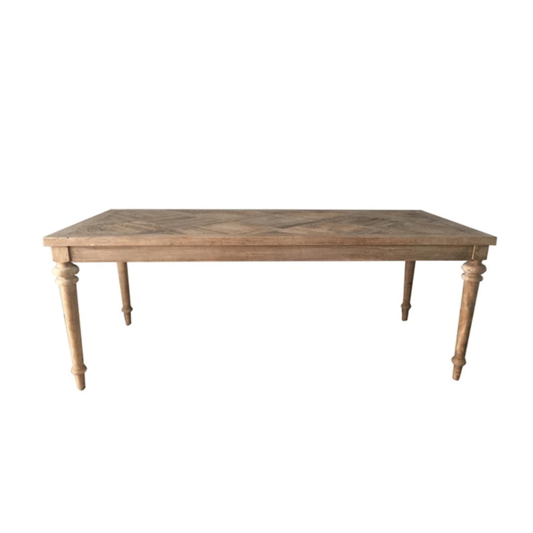 Elm Dining Table Parquet 2.0 Metre Turned Leg image 1