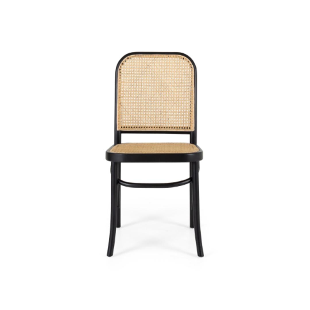 Elena Black Chair Rattan Seat image 0