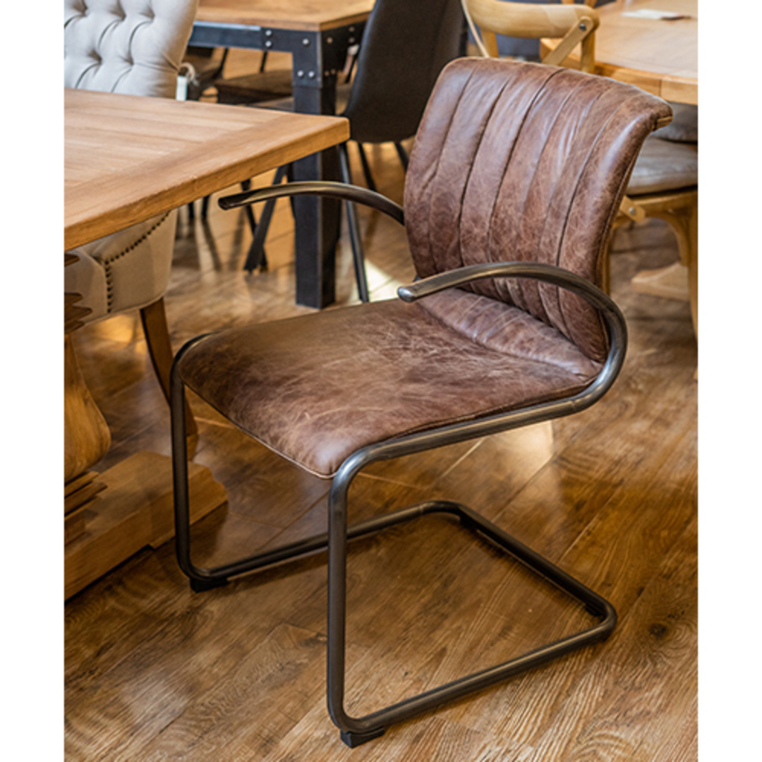 Matera Leather Arm Chair Metal Frame image 4