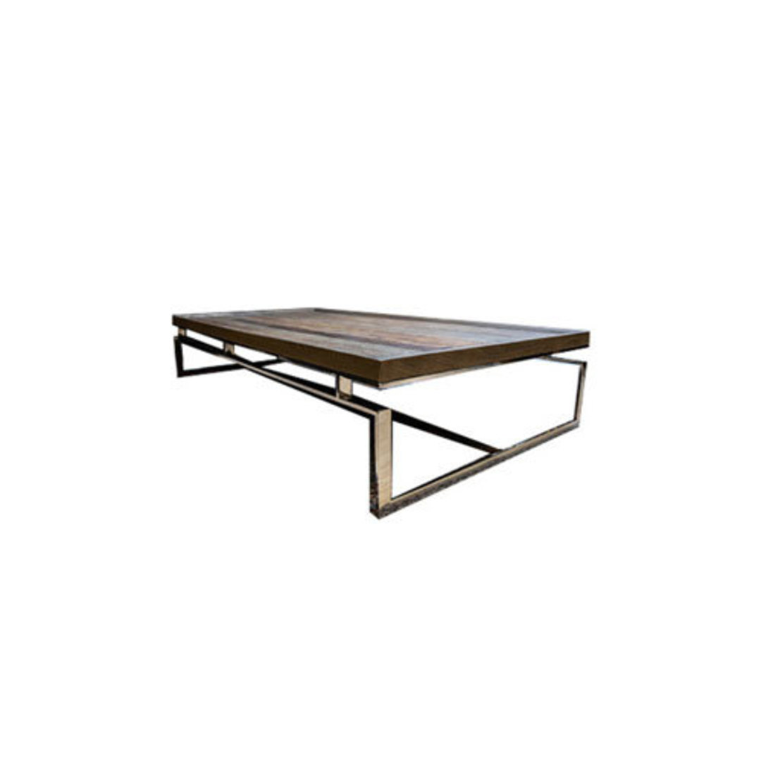 Providence Coffee Table Reclaimed Elm & Stainless Steel image 0