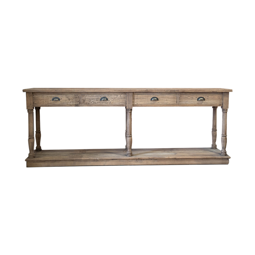 Reclaimed Elm Victoria 4 Drawer Console With Shelf image 0