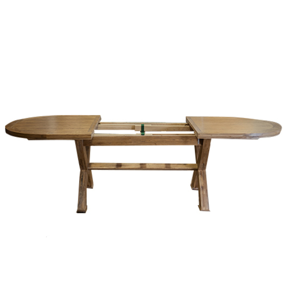 Oak Oval Extension Dining Table with Crossed legs image 2