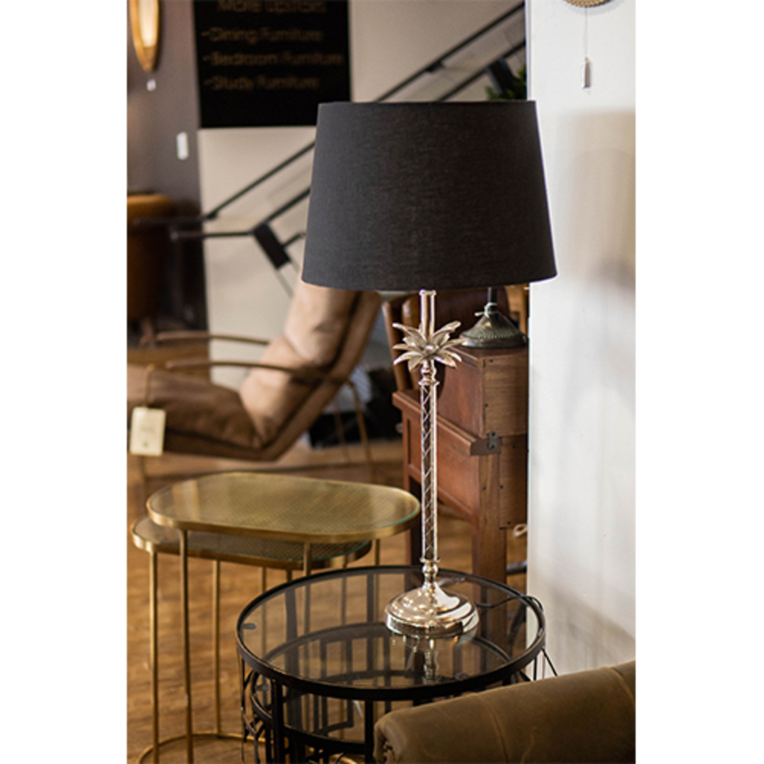Table Lamp With Shade - Black Linen image 1