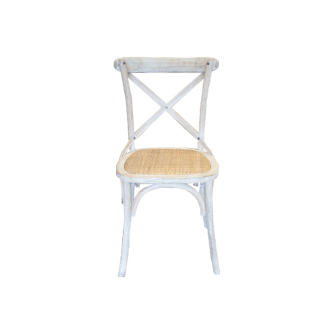 Marco Oak White Washed Wooden Cross Chair with Rattan Seat image 1