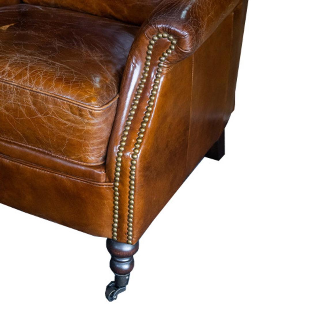 Sandringham Aged Italian Leather Armchair image 5