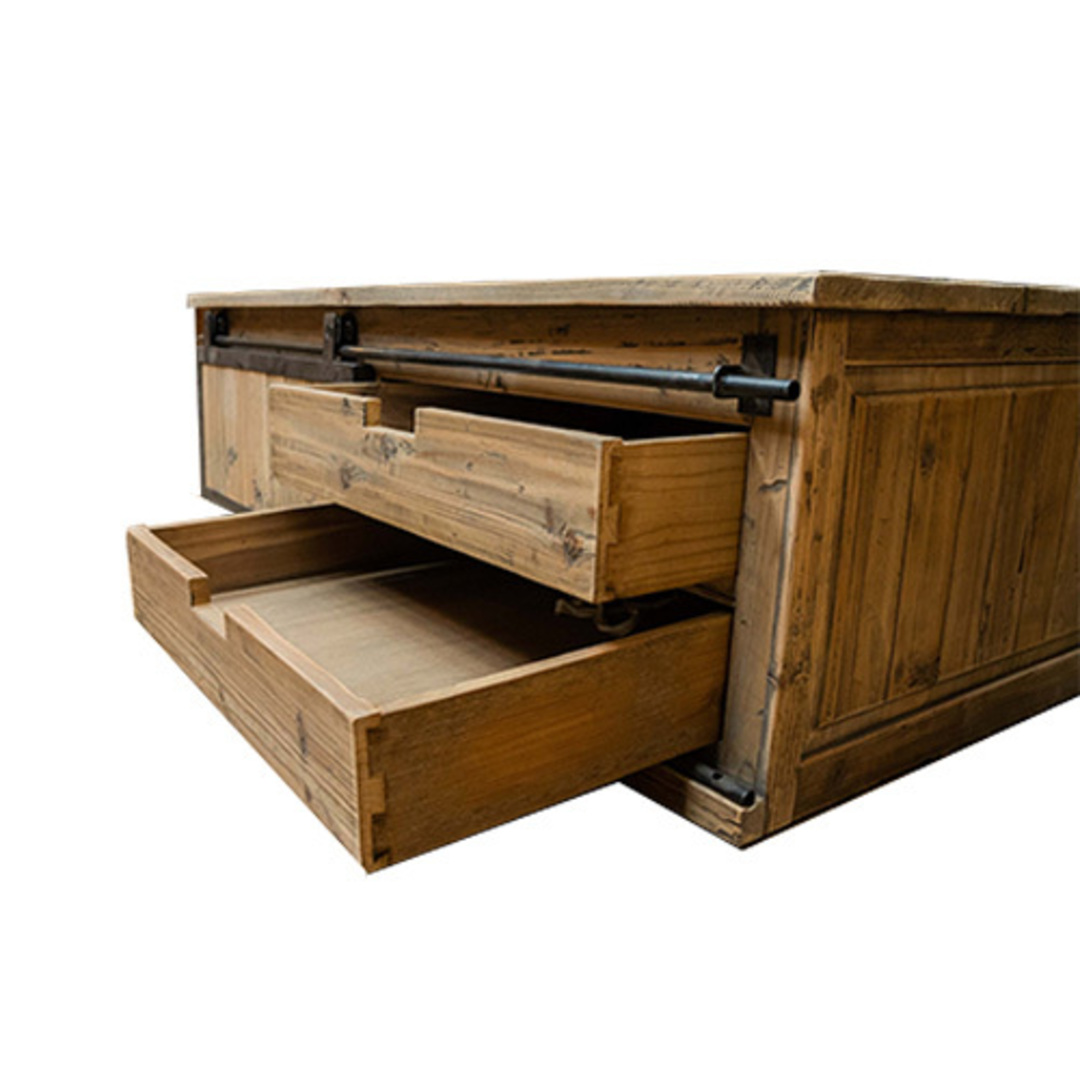 Industrial Coffee Table With Sliding Door image 6