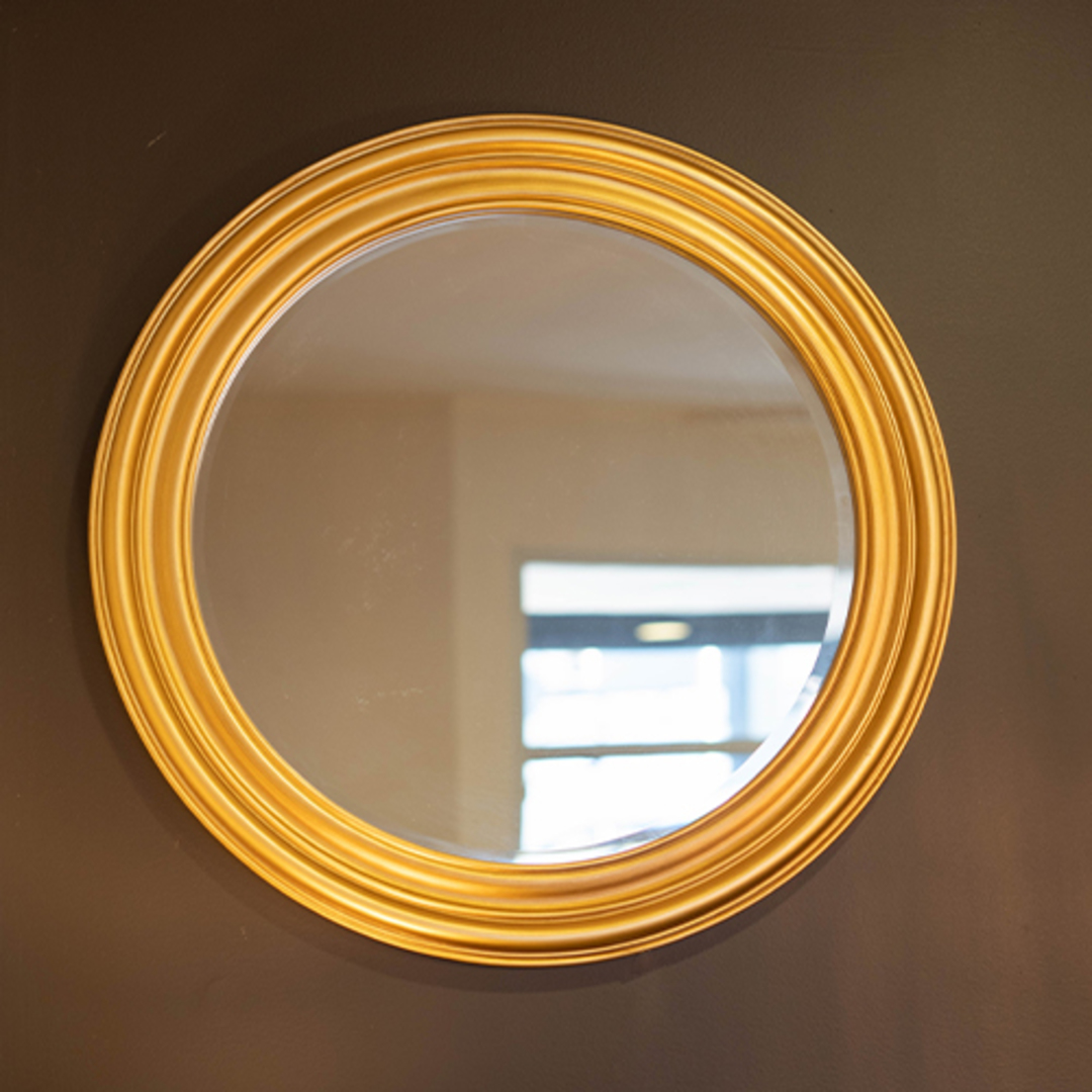 Grooved Round Beveled Mirror Gold image 1