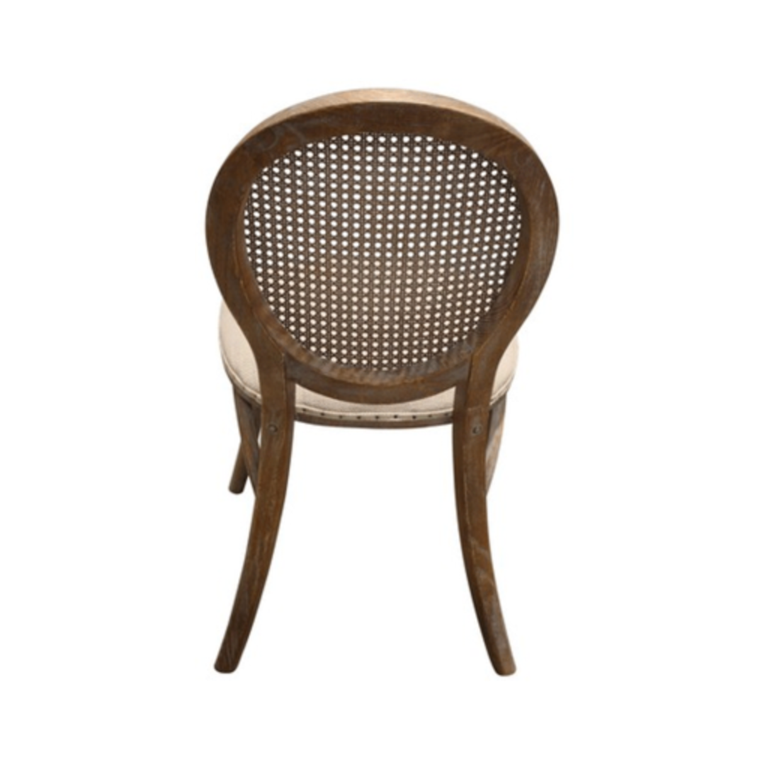 Heritage Dining Chair Burnt Oak with Natural Linen Seat image 3