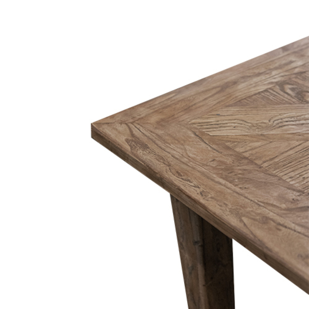 French Dining Table Recycled Elm Parquet Top 2.2M image 3
