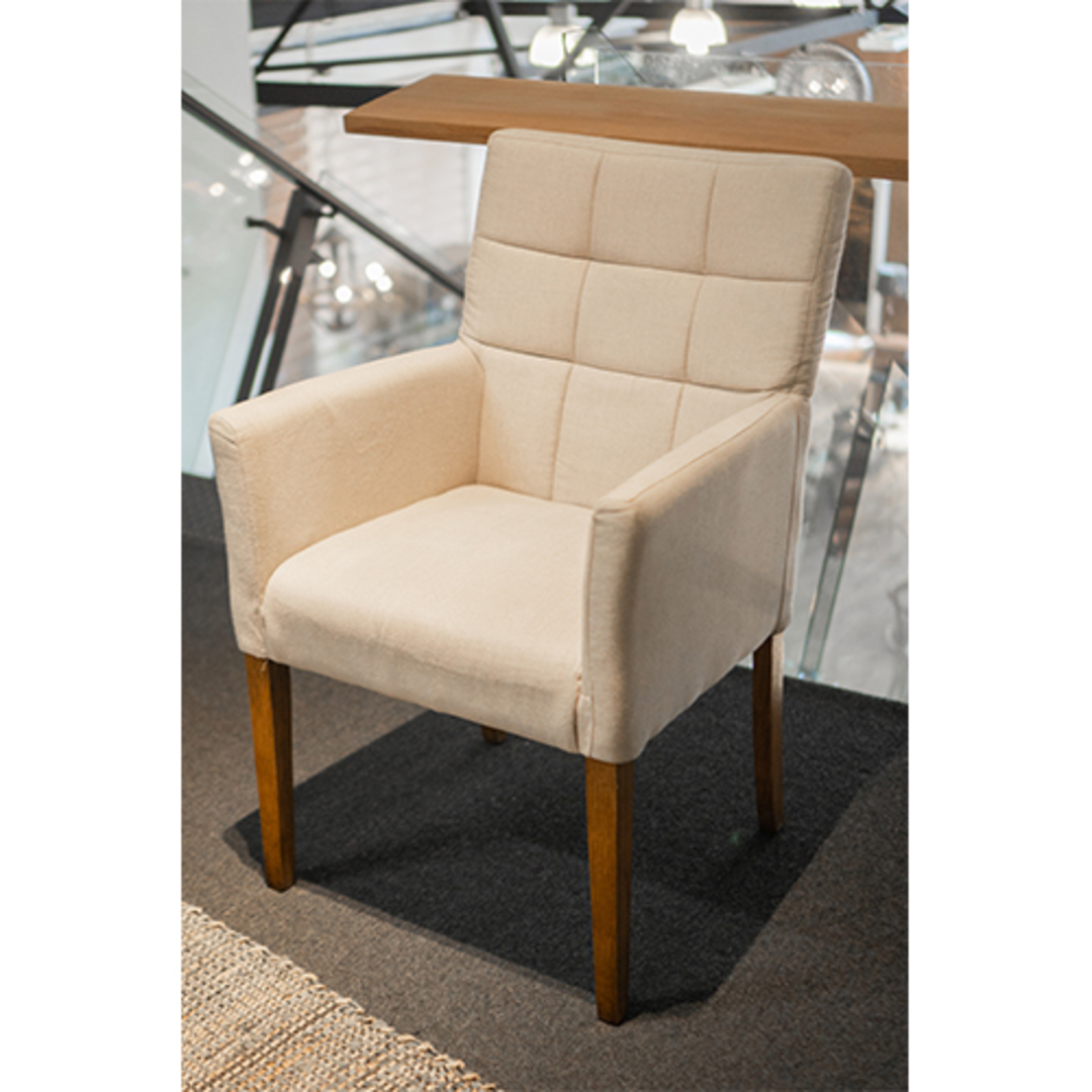 Linen Dining Chair With Arms Cream image 3