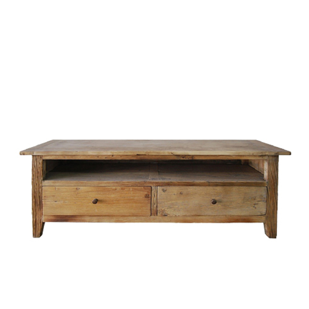 TV Unit Reclaimed Elm With 2 Drawer image 1