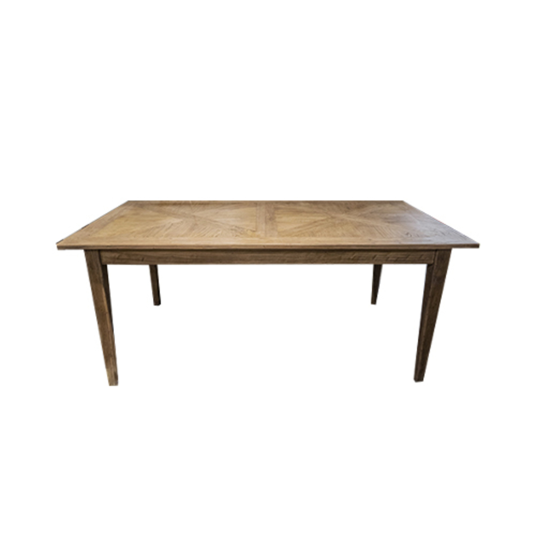 French Dining Table Recycled Elm Parquet Top 1.8M image 0