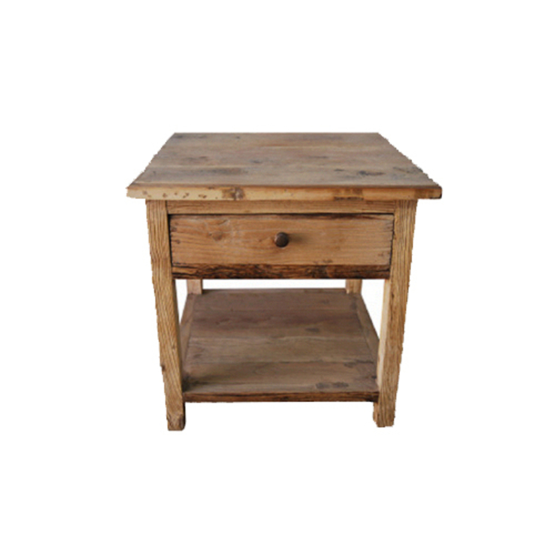 Recycled Elm French 1 Drawer Lamp Table With Shelf image 0