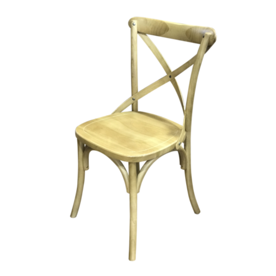 Athena Natural Elm Cross Chair with Wooden Seat image 1