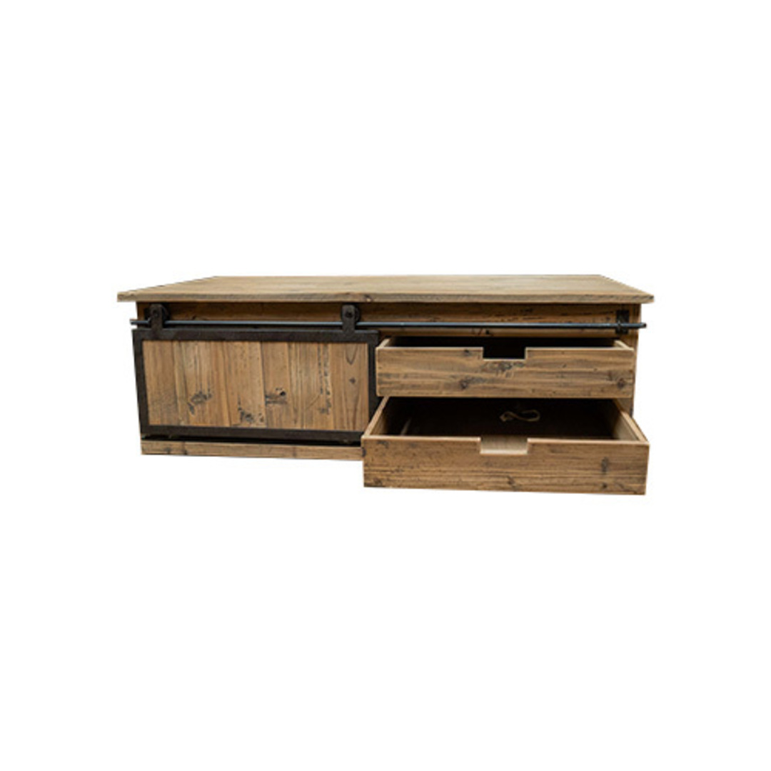 Industrial Coffee Table With Sliding Door image 4