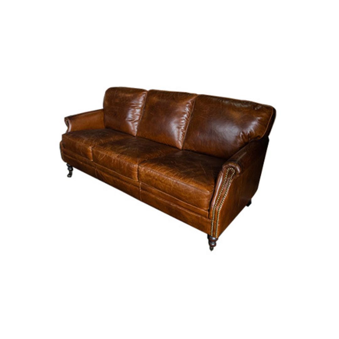 Sandringham Aged Italian Leather 3 Seater image 1