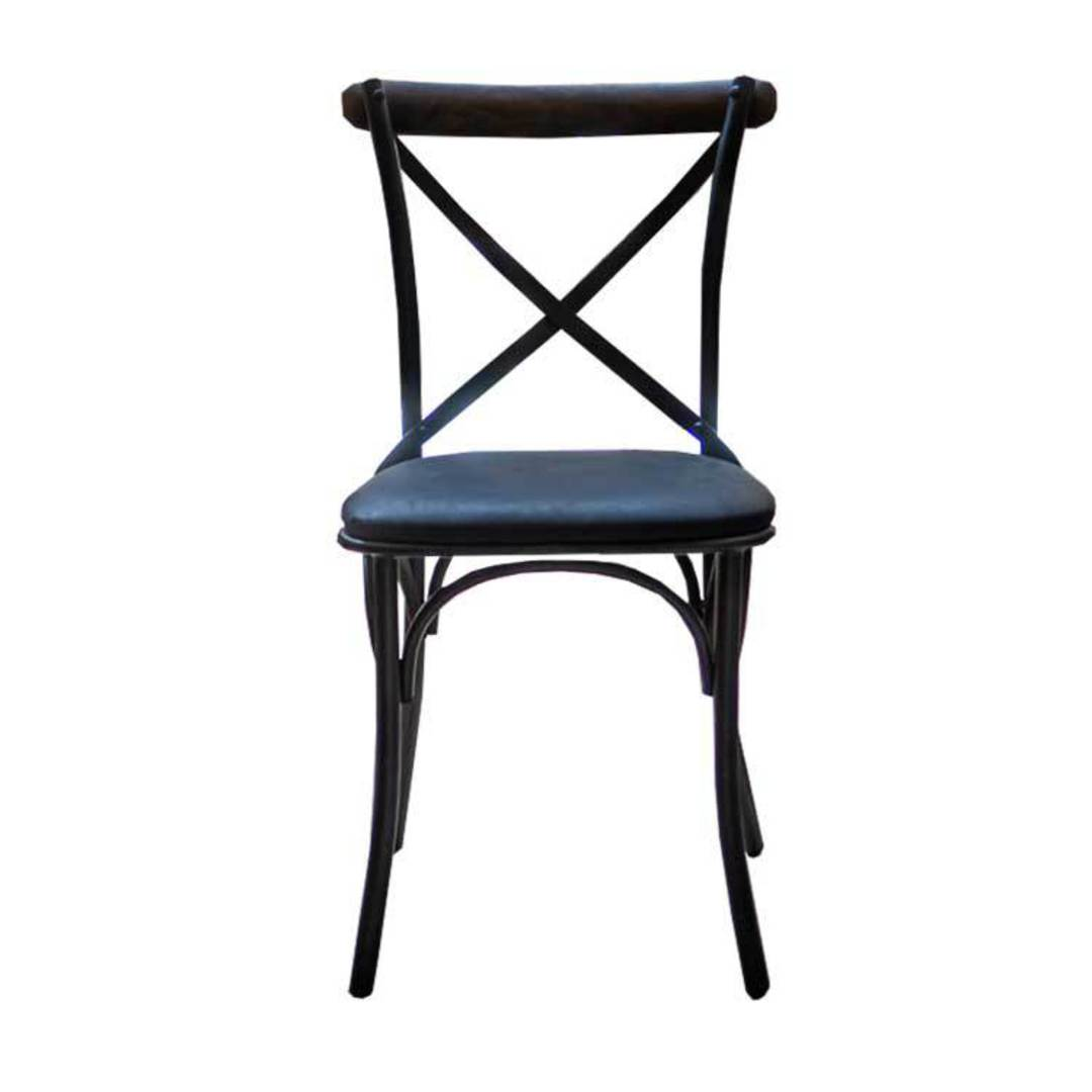 Cross Back Dining Chair With Black Leather Seat image 1