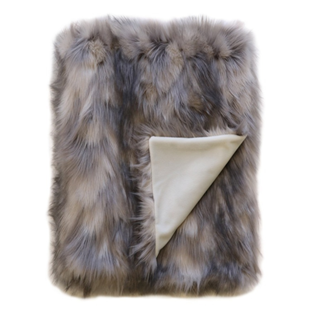 Heirloom Exotic Faux Fur Throw Mountain Hare image 0