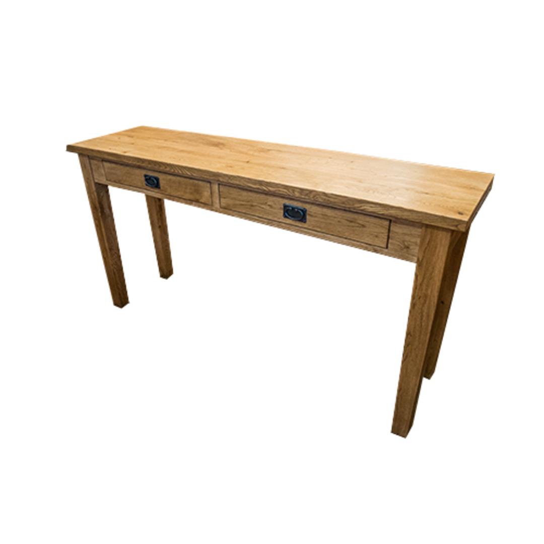 American Oak Hall Table 2 Drawer image 1