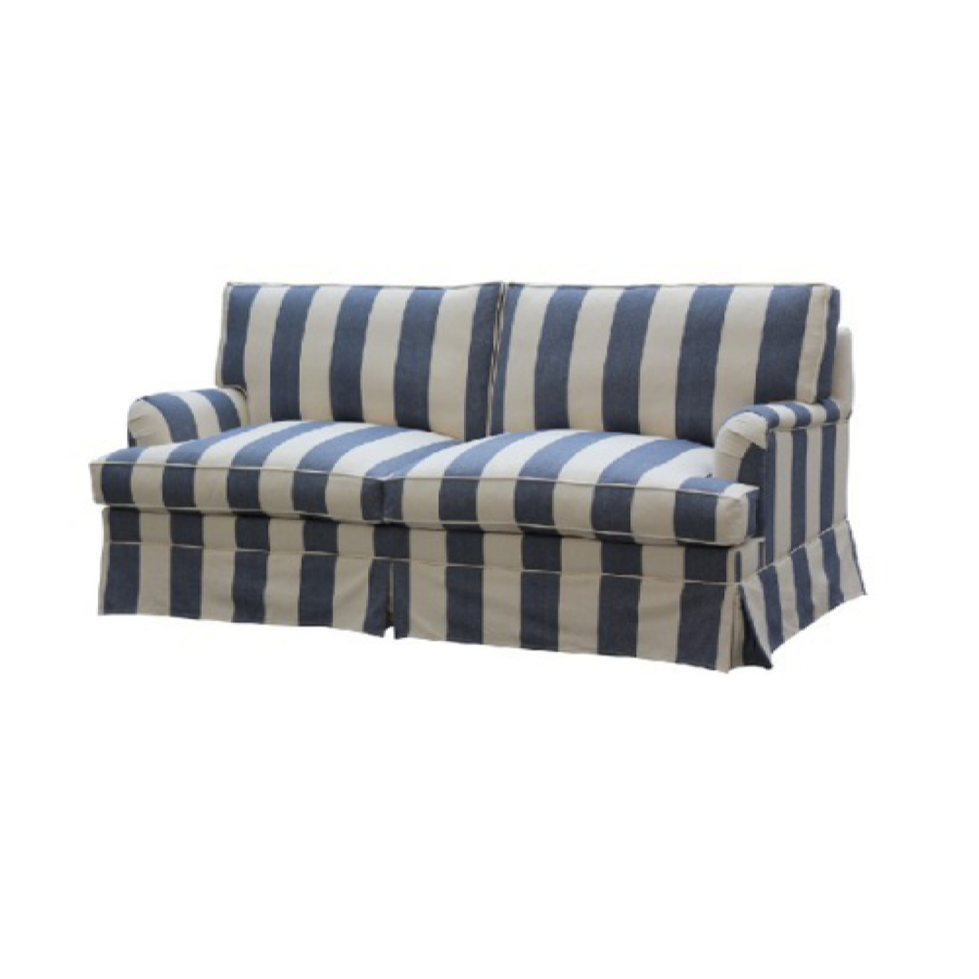 Louis Feather Filled 3 Seater Blue Stripe image 0