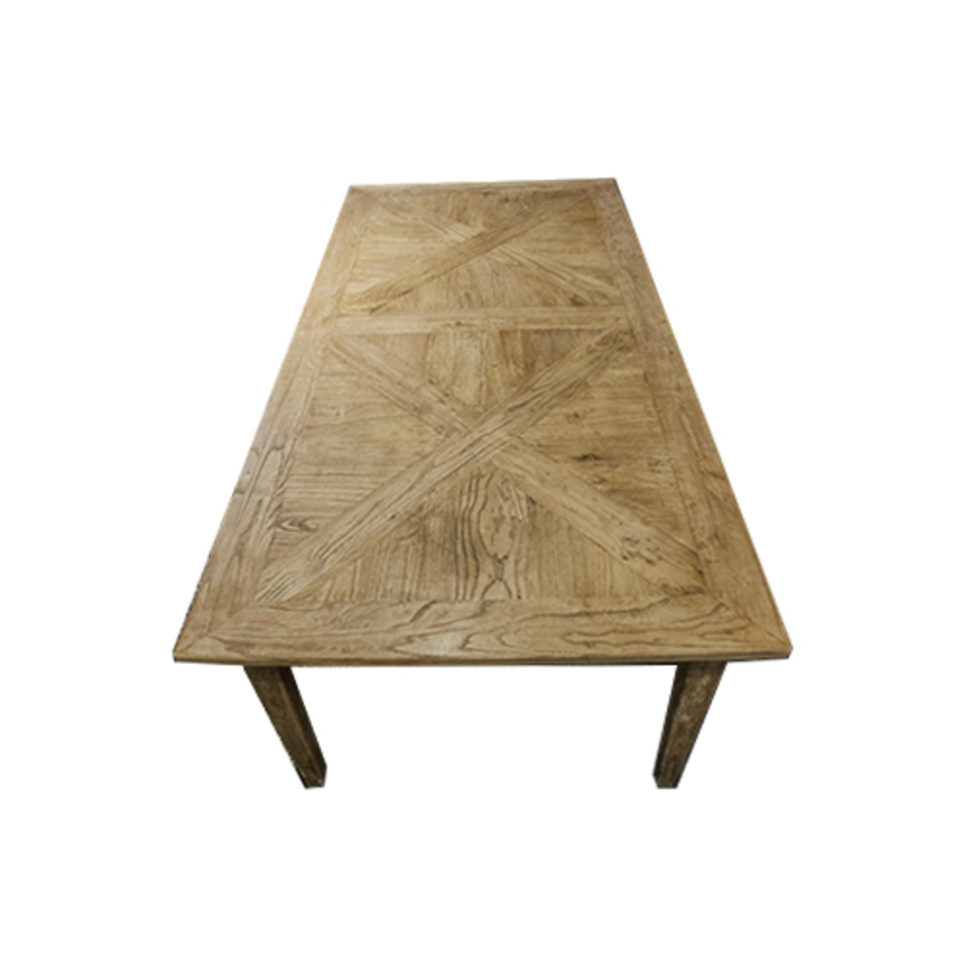 French Dining Table Recycled Elm Parquet Top 2.2M image 2