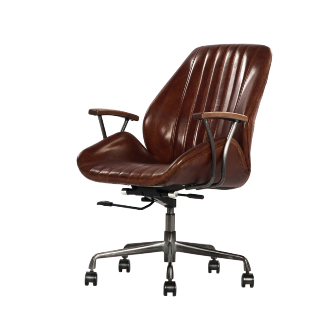 Gloucester Vintage Leather Office Chair Height Adjustable image 3