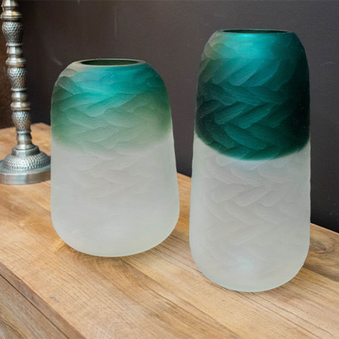 Tidal Teal Green Hand Carved Vase Tall image 1