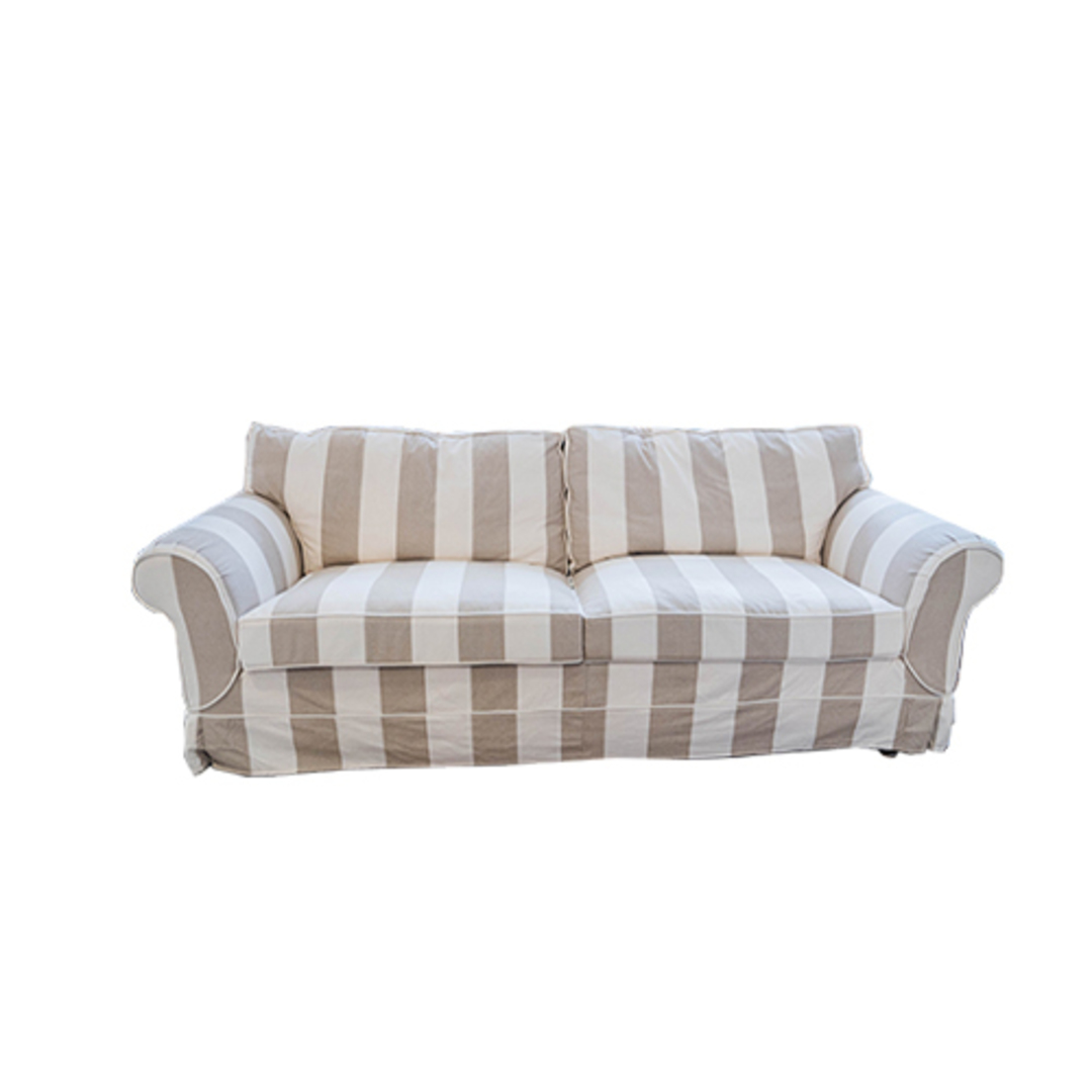 Isla Feather Filled 3 Seater Sofa Striped Natural image 2