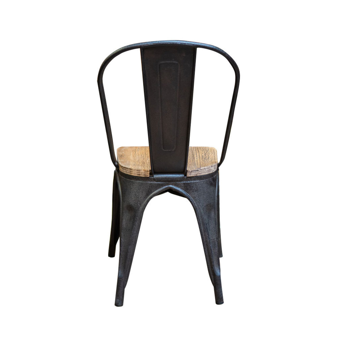 Industrial Dining Chair With Elm Seat image 2