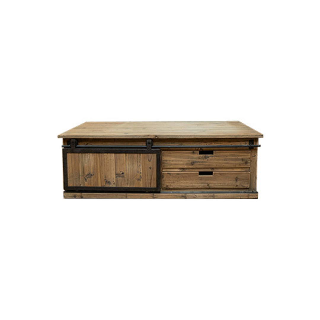 Industrial Coffee Table With Sliding Door image 1