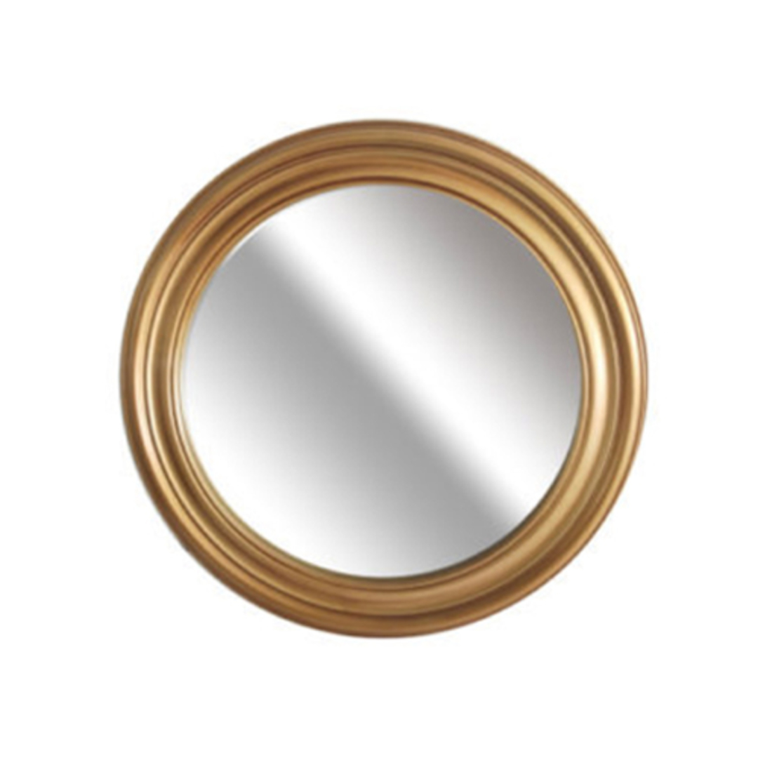 Grooved Round Beveled Mirror Gold image 0