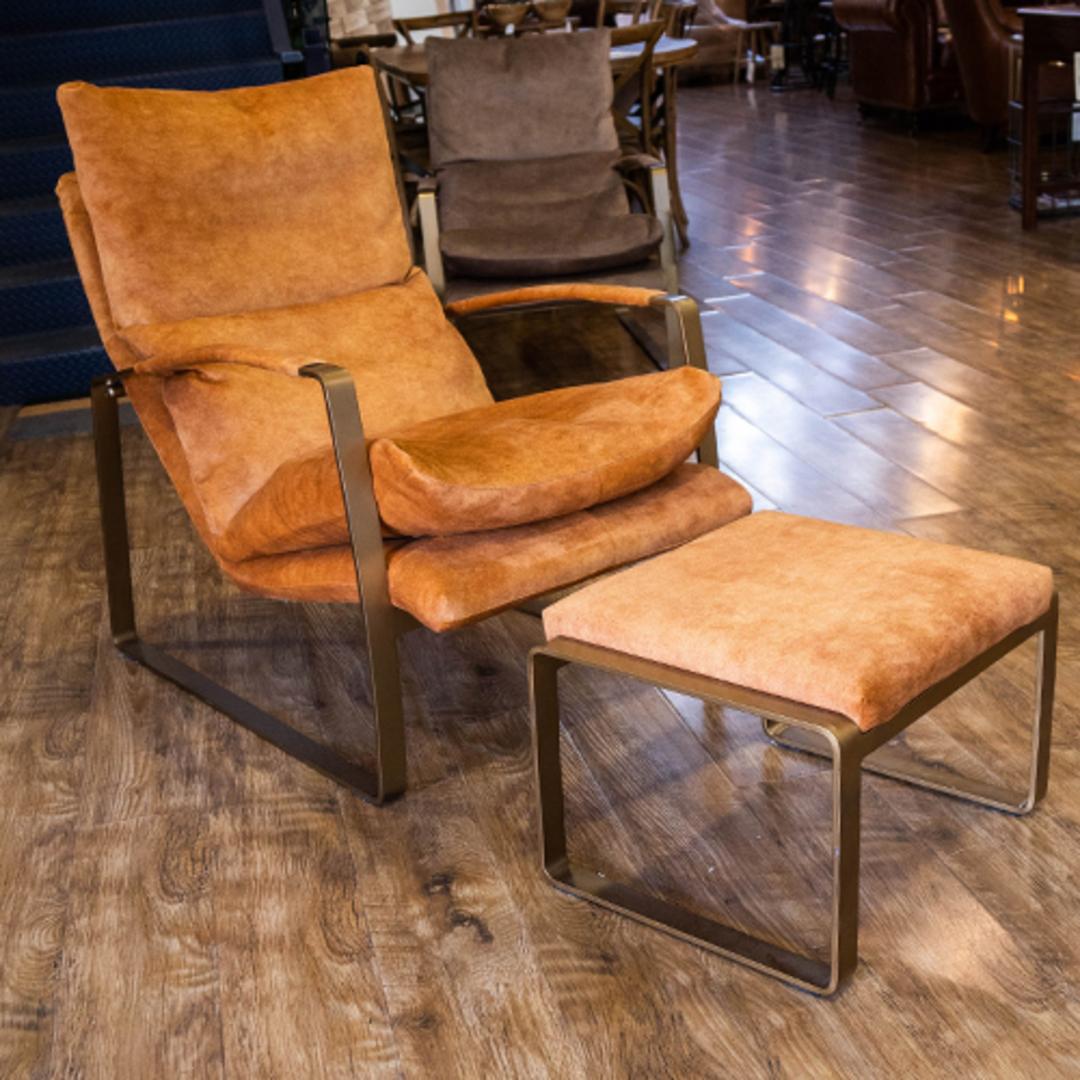 Sienna Chair & Ottoman Fabric Caramel image 1