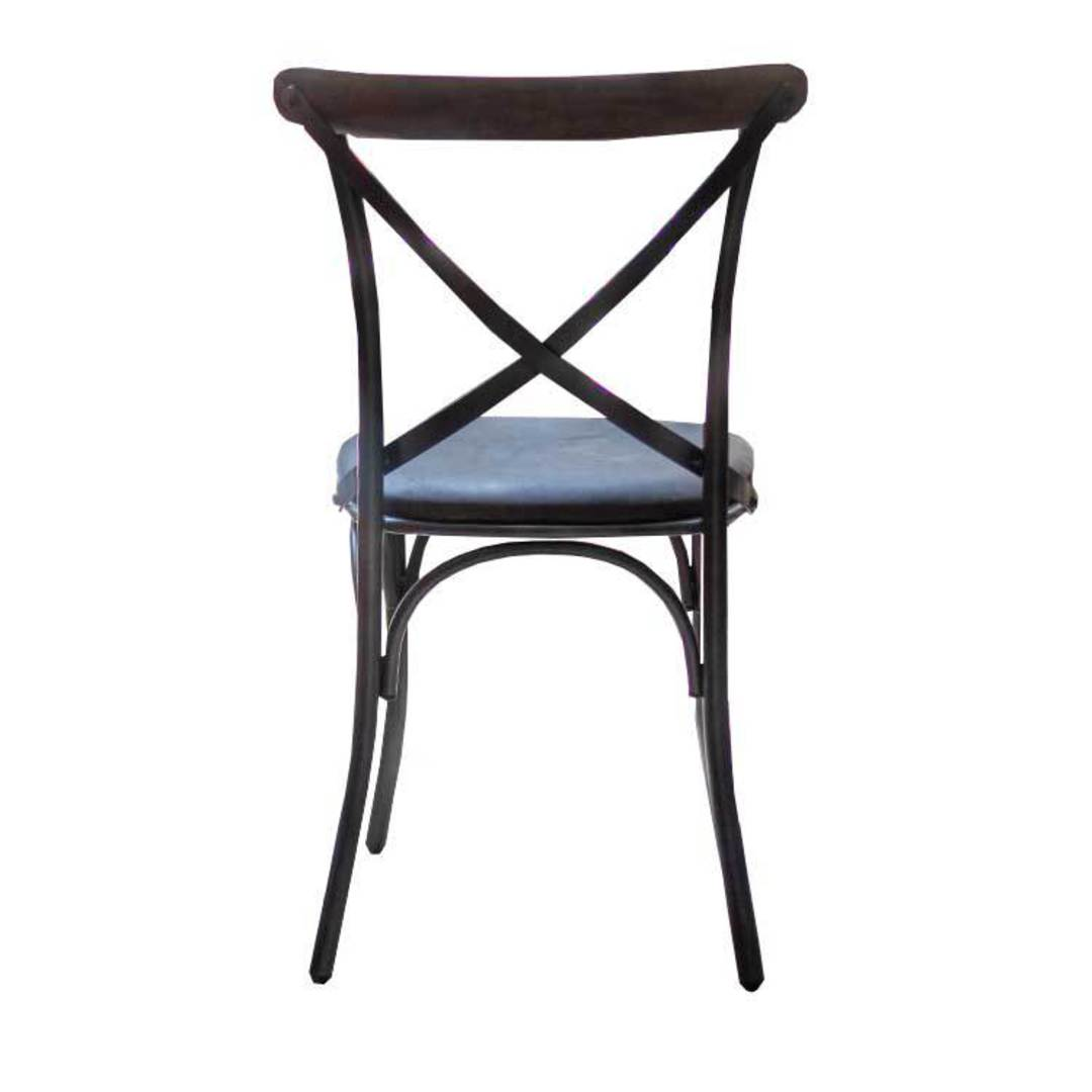 Cross Back Dining Chair With Black Leather Seat image 3