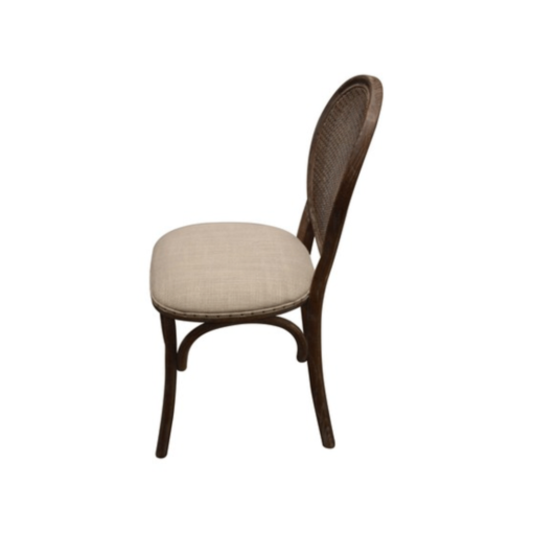 Heritage Dining Chair Burnt Oak with Natural Linen Seat image 2